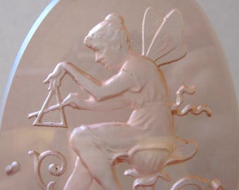 Art Nouveau Etched Pink Glass Oval Panel Plaque. Fairy Nymph Nestled in a Flower w/ Dinner Bell. Door Panel. Intaglio Panel. Bath Girl Room