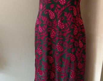 Women's Green and Burgundy Short Sleeved Traditional Kameez Tunic From India XS-S