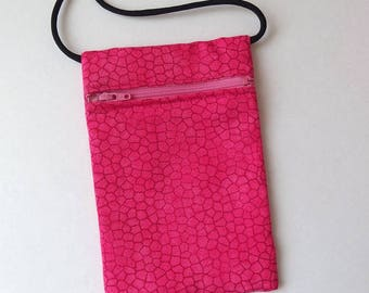 """Pouch Zip Bag HOT PINK Fabric.  Small fabric Purse. Great for walkers, markets, travel. Cell Phone Pouch.  sling bag coin pouch 6.75"""" x 4.5"""""""