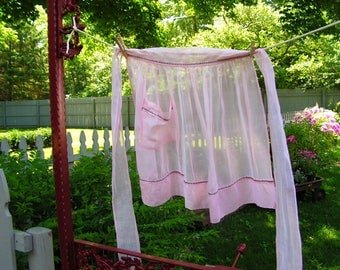 Vintage Apron Cottage Chic Pink with Forget Me Not trim Soft Cotton half apron