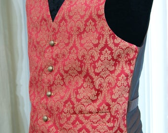 Red and gold brocade Waistcoat Goth Steampunk Victorian Chap Groom Wedding Obsidian NEW