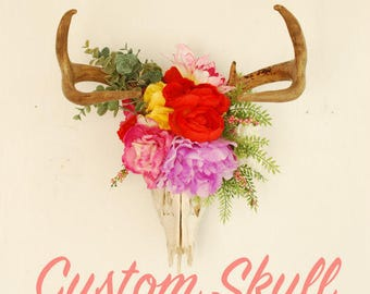 Custom Floral Deer Skull Downpayment - Real Boho Flowers Antlers Wall Hanging Decor Decoration Wedding Nursery Accessory Animal Taxidermy