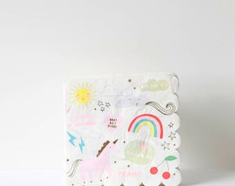 Large Unicorn Napkins - Meri Meri- Party Decor Supplies- Tableware- Magical- Birthday- fairytale- Spring- Summer- Party - Unicorns