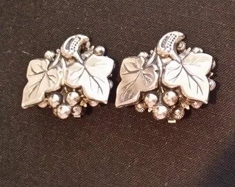 Grape Leaves Silver Tone Clip On Earrings