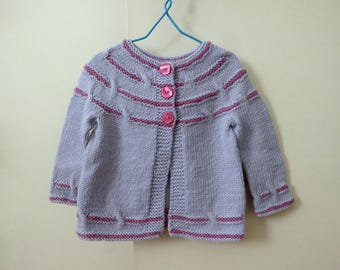 Girls pure wool cardigan, hand knit grey and pink baby sweater, girl 6 - 12 months, pretty baby clothes, knitted baby cardigans, baby gift
