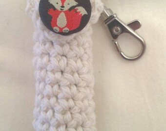 Fox Lip Balm Holder - Forest Friends Chapstick Case - Off White Lip Balm Cozy Keyring - Gifts for Her - Stocking Stuffers