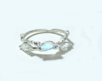 Nature inspired ring Gemstone twig ring Marquise cut ring Unique moonstone ring