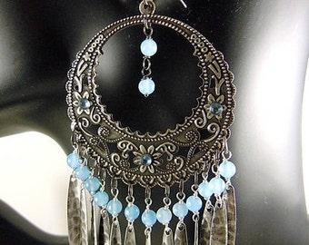 Earrings dangle/silver / semi precious / unique.