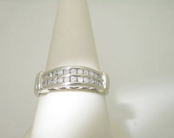 10K Solid White Gold .33ctw. Natural DIAMOND PROMISE Wedding RING Size 8.75  R185