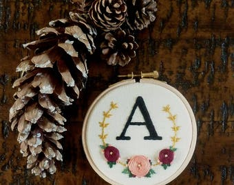 Custom initial embroidery with floral surround Modern personalised monogram letter 4 inch embroidery hoop birthday bridesmaid gift for her