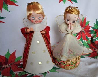 Vintage Tulle Christmas Angel Lot of 2 Large Angels