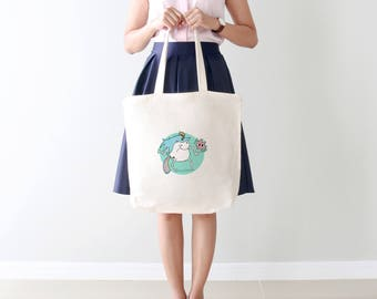 Unicorn Tickle Tote Bag: kawaii eco friendly shopping bag with unicorn illustration. Useful & fun gift for pin ups and bridal party!