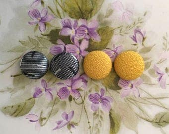 Fabric Button Earrings / Set of 2 / Bulk Jewelry / Gray and Yellow / Gifts for Her / Wholesale Earrings / Made in USA / Vintage Inspired