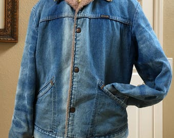 DENIM CHORE COAT, Vintage Blue Jean Lined Barn Work Jacket