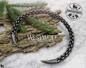 Hand-Forged Braided Steel Scorpion Tail Neck Torc --- Claw / Talon Torc --- Viking/Celtic/Claw/Talon