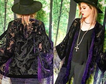 1970s Art Deco Stevie Nicks Amethyst Purple Burnout Velvet Fringe Kimono