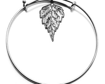 Pewter Birch Leaf Bangle Bracelet -0395