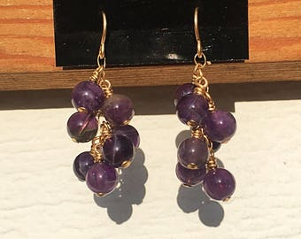 Amethyst Rounds 14k Gold Filled Cluster Earrings