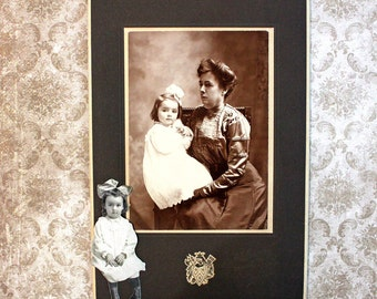 Mother and Child*Sepia Tone Vintage Photo of Seated Mother and Girl with a Bow
