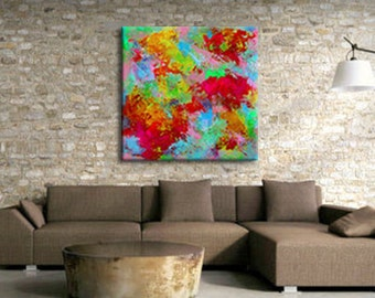 Colorful Contemporary Abstract Art, Extra Large Canvas Print, Original Acrylic Painting, Corporate Wall Art, Over Sized Giclee Print