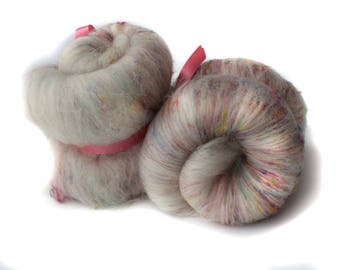 Spinning Batt - White - Multi coloured - Merino - Recycled Sari Silk - Firestar - 100g / 3.5oz - THE SCATTY BATT