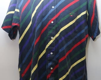 "Rare 90's Vintage ""DUCK HEAD"" Short-Sleeve Abstract Patterned Colorful Shirt Size: MEDIUM (Men's Exclusive)"