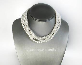 Pearl Choker Necklace Mother of the Bride Swarovski Adjustable Multi Strand Pearl