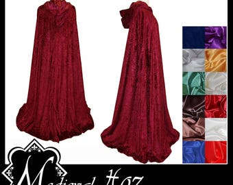 Maroon/ Wine/ Burgundy Crushed Velvet Cloak lined with a Shimmer Satin of your choice. LARP Medieval Wedding Handfasting. Made To Measure.