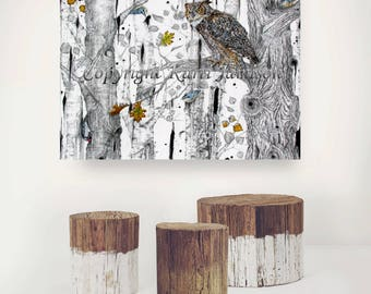 RESERVED for EILEEN Karri Jamison Canvas Print, Title: Into The Woods (Great Horned Owl),Giclee PRINT on Canvas 24x32 inches