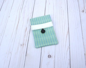 sample sale - small pouch - unique travel bag - makeup brush bag - backpack accessory - passport holder - phone carrier - green blue stripe