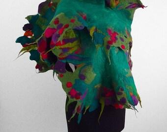 Felted Scarf MULTICOLOR SCARF Fairy Scarf Flower Wrap Nunofelt Scarf Flower Wrap Green Scarf  Felt Nuno felt Silk floral shawl