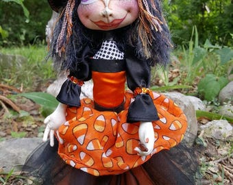 Halloween Witch - Cloth Doll - Cloth Art Doll - Witch Art Doll - Halloween Doll - Art Doll - Fiber Art Doll - Fabric Art Doll - Fabric Doll