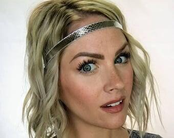 The Stella - Silver Snake Print Boho Headband