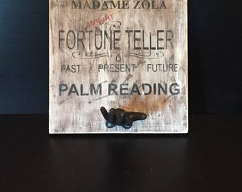 Palm Reader Wood sign with Cast Iron Hand