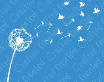 Dandelion vector, dandelion clipart, flower outline floral birds digital download svg, eps, ai, file