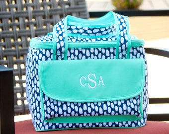 Tide Pool Cooler Lunch Tote - May be Monogrammed - Navy Blue Abstract Polka Dots Personalized Insulated Bag
