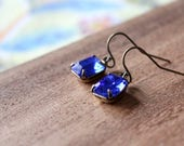 vintage glass earrings - royal blue