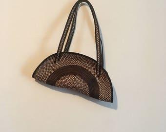 80s woven handbag, unique half moon zip bag, purse, basket -vintage -
