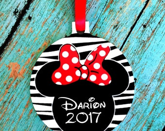 Personalized Aluminum Minnie Mouse Christmas Ornament