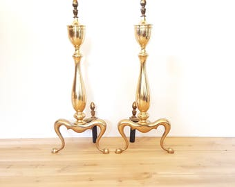 Brass Andirons ~ Vintage Federal Style Andirons / Fire Dogs / Fireplace Log Holders