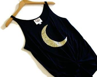 Sequin Moon Tank. Boho Moon Tank Top. Moon Luna Lunar Moon Shirt. Crescent Moon Tank. Yoga Tank. Graphic Tank. Moon Child. Bohemian Tank Top