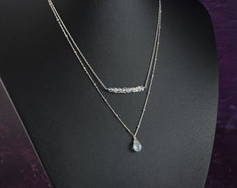 Moonstone Layered Necklace, Sterling Silver Two Layer Gemstone Necklace, Delicate Fine Sterling Silver Satellite Chain