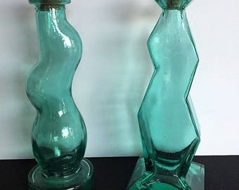 Vintage Retro Art Glass Bottles Cork Stoppers