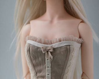 Beige dupioni silk corset for BJD SD Girl