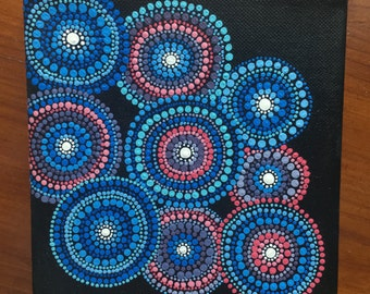 Circle Dot Painting on Canvas