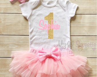 Personalized Name Bodysuit, 1st Birthday Outfit, Cake Smash, Pink and Gold Birthday, 2nd Birthday