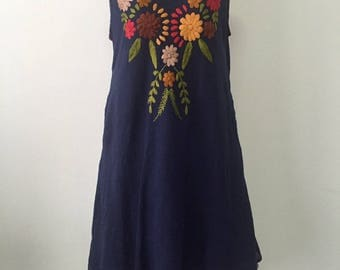 Embroidered Sleeveless Dress Cotton Dress In Blue With Lining, Mexican Dress, Boho Dress, Summer Dress