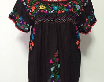 Mexican Embroidered Blouse Cotton Top In Black, Boho Blouse, Peasant Top, Oaxacan Blouse
