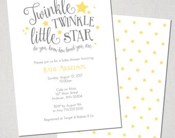 Twinkle Little Star Baby Shower Invitation  - Digital File