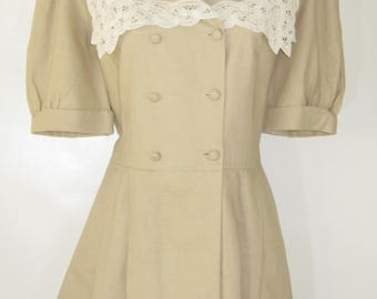LAURA ASHLEY Vintage Edwardian Colonial Battenberg Lace Collared Summer Dress, UK 14